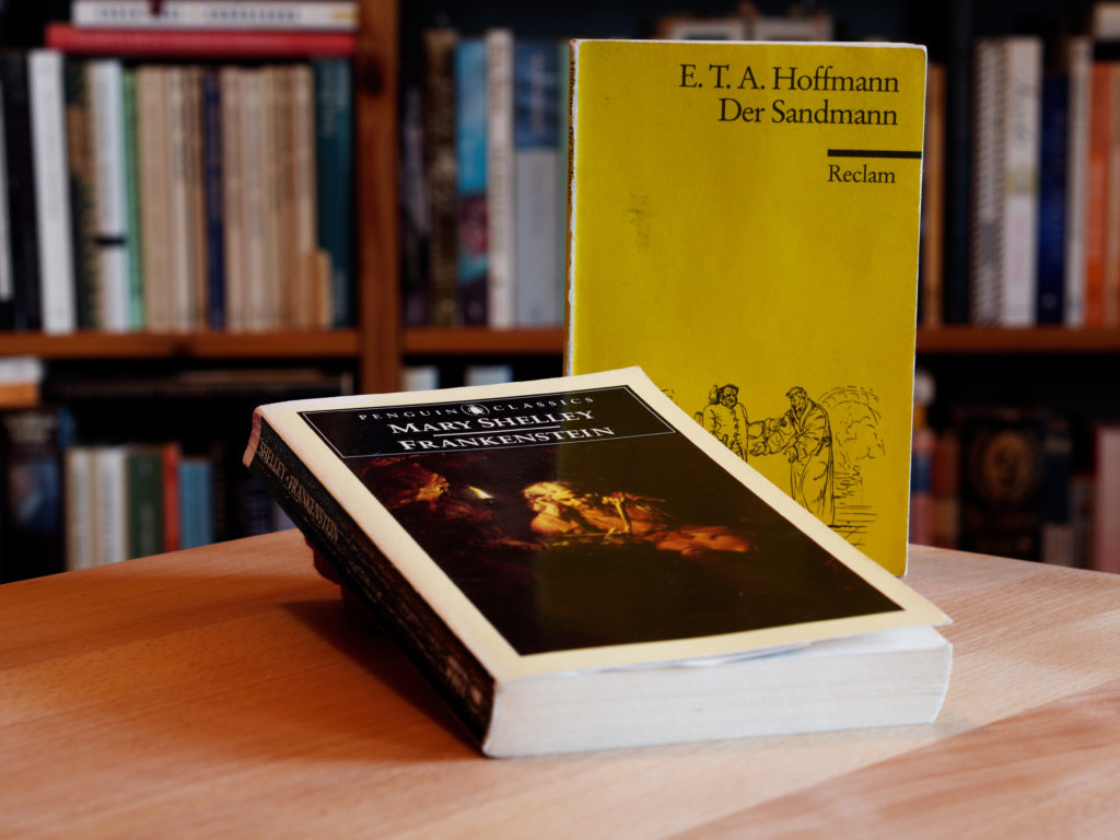 "2 Bücher der Schauerromantik zum Thmea ""Von Maschinen und Menschen"": E.T.A. Hoffmann: ""Der Sandmann"" Reclam 2001 Mary Shelley: ""Frankenstein"" Penguin Classics 2003"